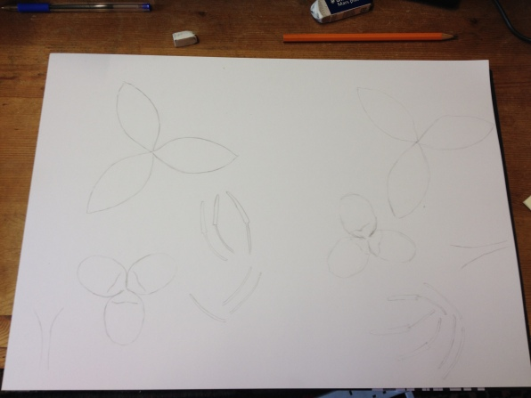 Mark out the petals whilst background dries