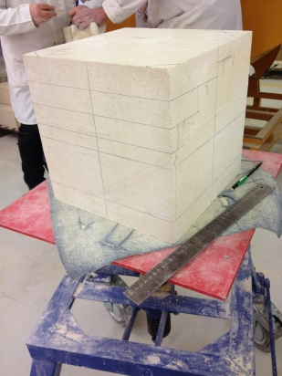 30cm (12inch) cube of Bath stone marked up and ready to go.