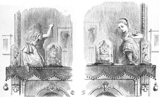 Original drawing of Alice going through the mirror for the next adventure