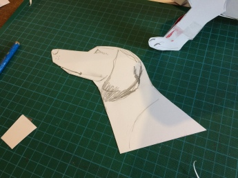 Then the head. So I started with the shape of the muzzle