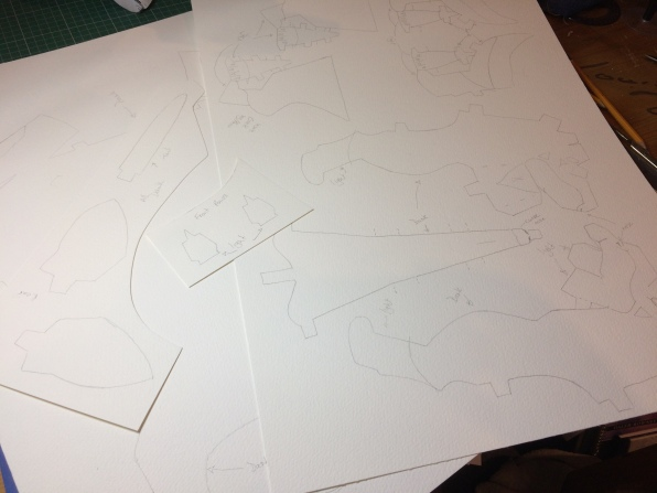 Traced pieces ready for painting