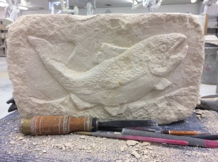 This Bath Stone 'brick' was carved from blank to finished piece in a 2.5 hr session. Working that fast is exhilarating and can either work or fail there is not half way.