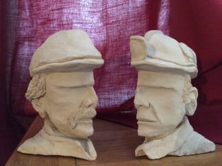 I decided to make a mould of the maquette and cast it in Jesmonite-Bathstone mix. These sell for £45 each or £80 for the pair.