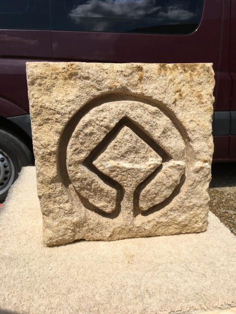 All washed and ready to be installed. Now it is washed, you can see the lie of calcite running right through the design.