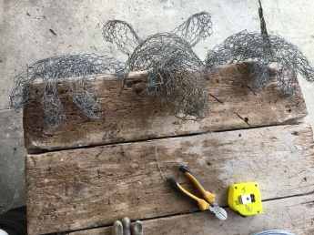 Starting with the framework of chicken wire ...